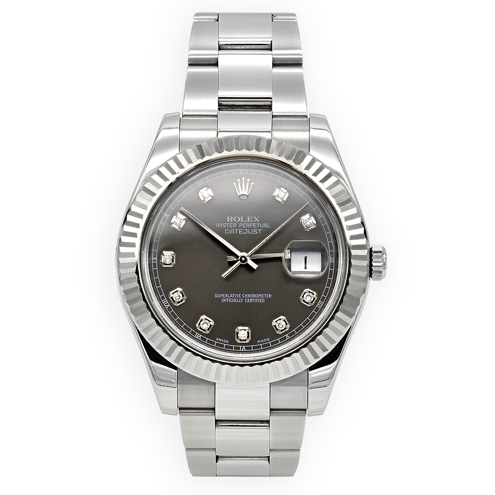 Rolex Datejust Custom Diamond Watch for Men Stainless Steel 41mm 0.1ct Main Image