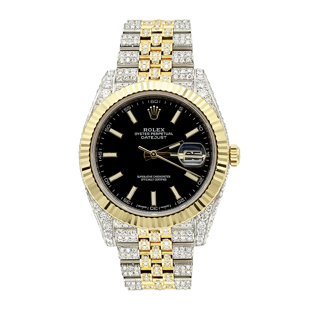 42mm Rolex Datejust Diamond Watch for Men 12ct Two Tone 18k Gold & Steel Black Dial Main Image