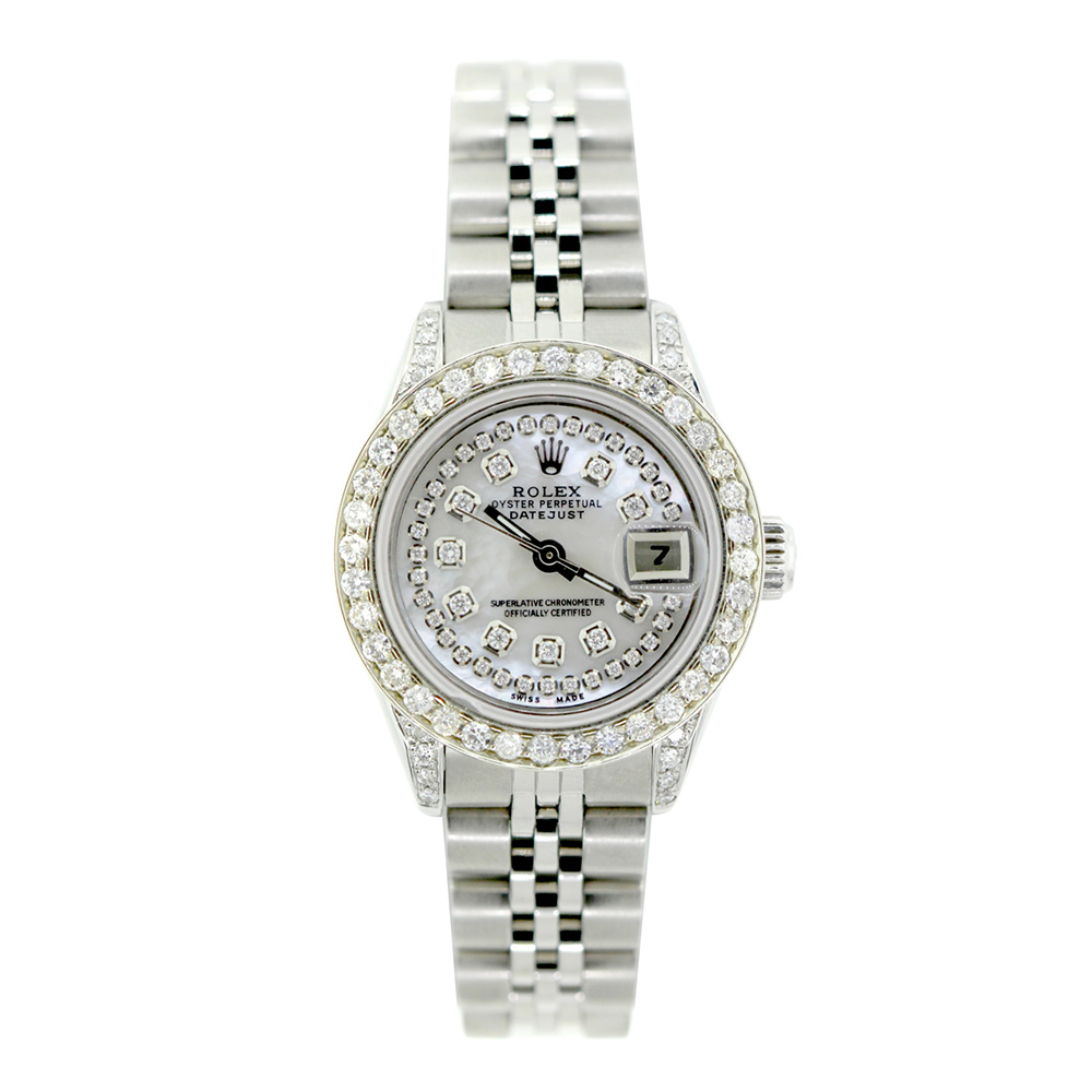 Rolex Datejust Iced Out Diamond Watch for Women 2.2ct Stainless Steel 26mm Main Image