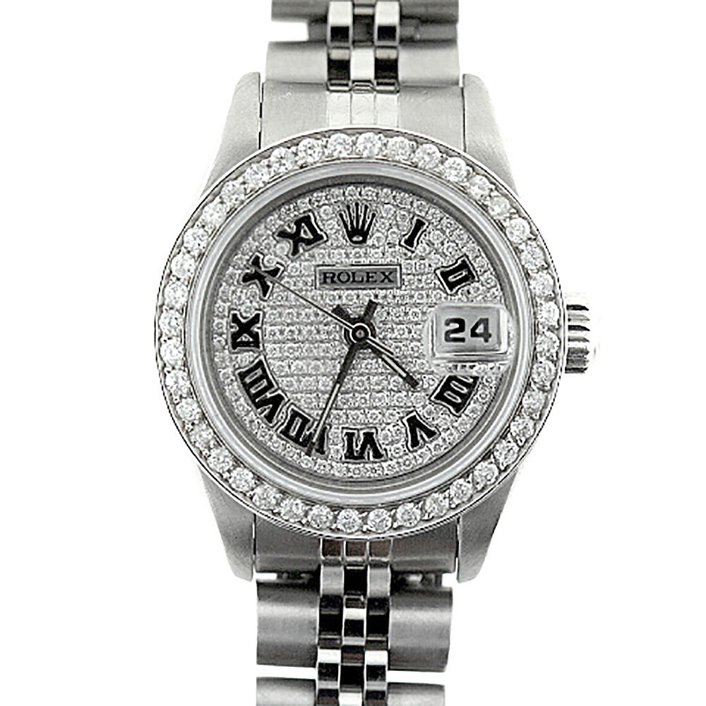 Rolex Datejust Iced Out Diamond Watch for Women Stainless Steel 2.5ct Main Image