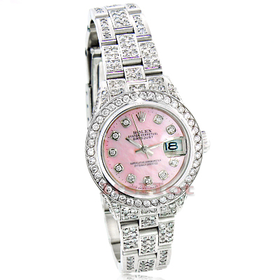 Rolex Datejust Ladies Custom Diamond Watch 12.25ct Pink Face Main Image