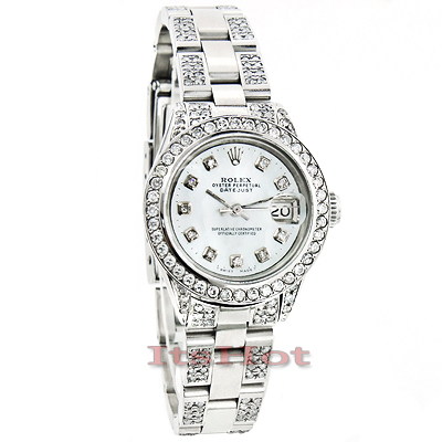Rolex Datejust Ladies Custom Diamond Watch 7.25ct White MOP Face Main Image