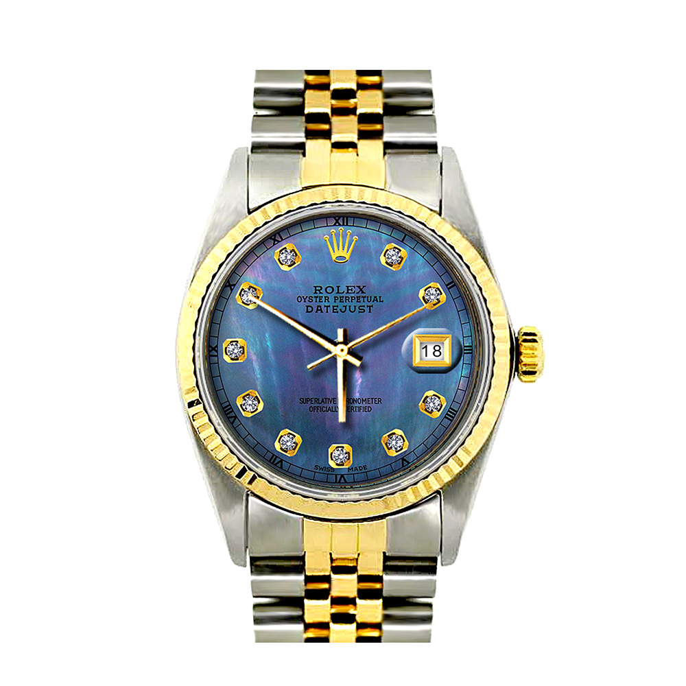 Rolex Datejust Mens Custom Diamond Watch 18K Gold and Stainless Steel 0.1ct Blue Dial 36mm Main Image