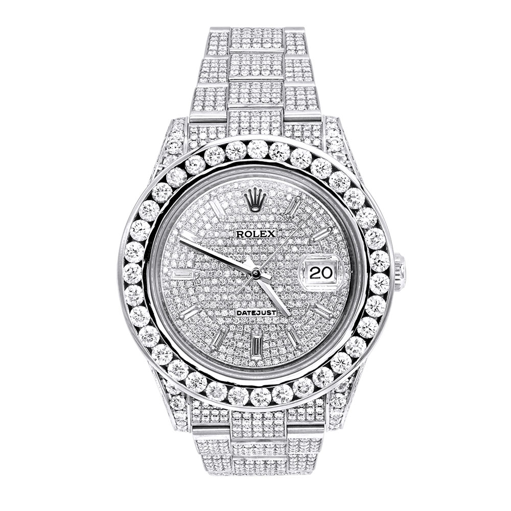 Rolex Datejust Mens Custom Diamond Watch 252ct Iced Out