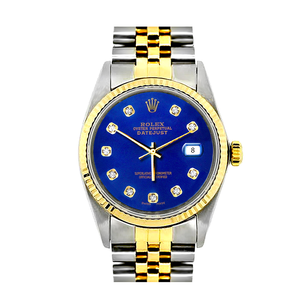 Rolex Datejust Mens Custom Diamond Watch Stainless Steel and 18K Gold Main Image