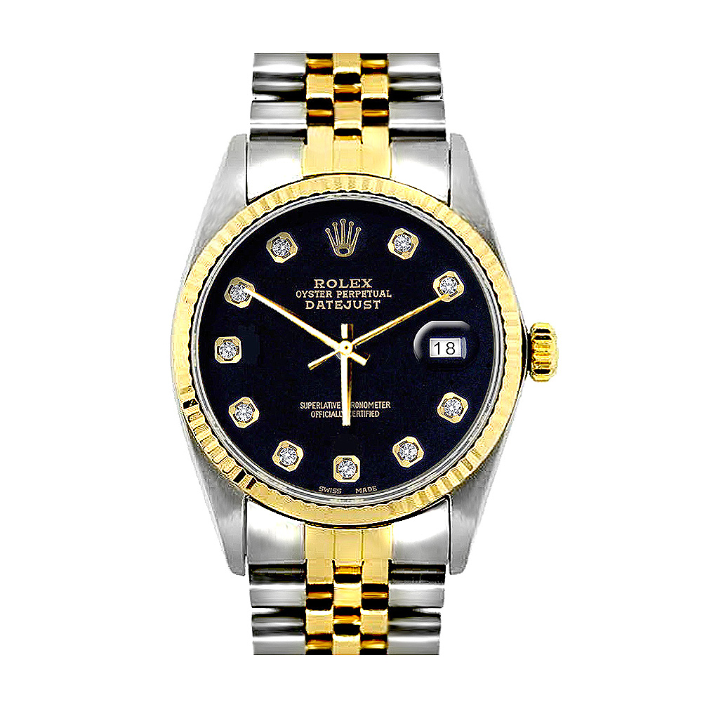 Rolex Datejust Oyster Perpetual Mens Diamond Watch Two Tone Steel 18K Gold Main Image
