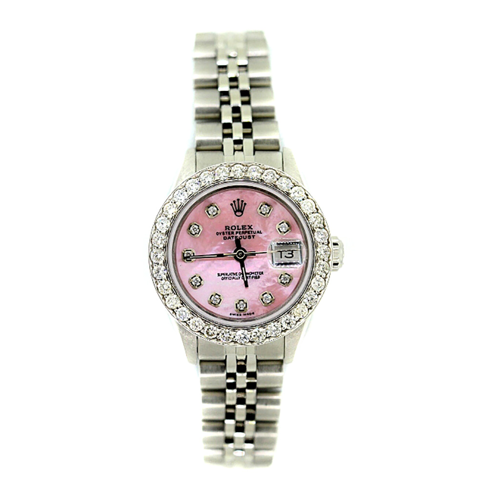 Rolex Datejust Oyster Perpetual Womens Diamond Watch Pink MOP Diall 1.7ct
