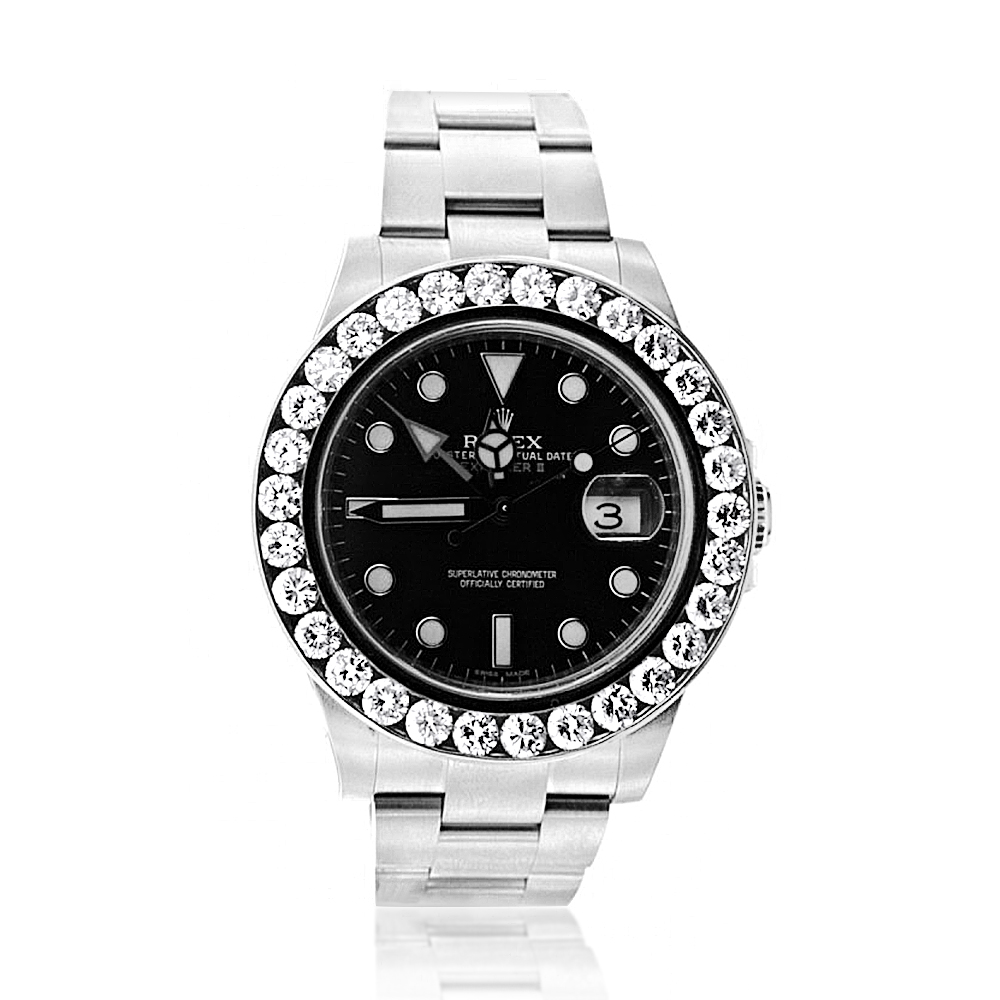 Rolex Explorer II Mens Diamond Bezel Watch Stainless Steel Black Dial 5ct Main Image
