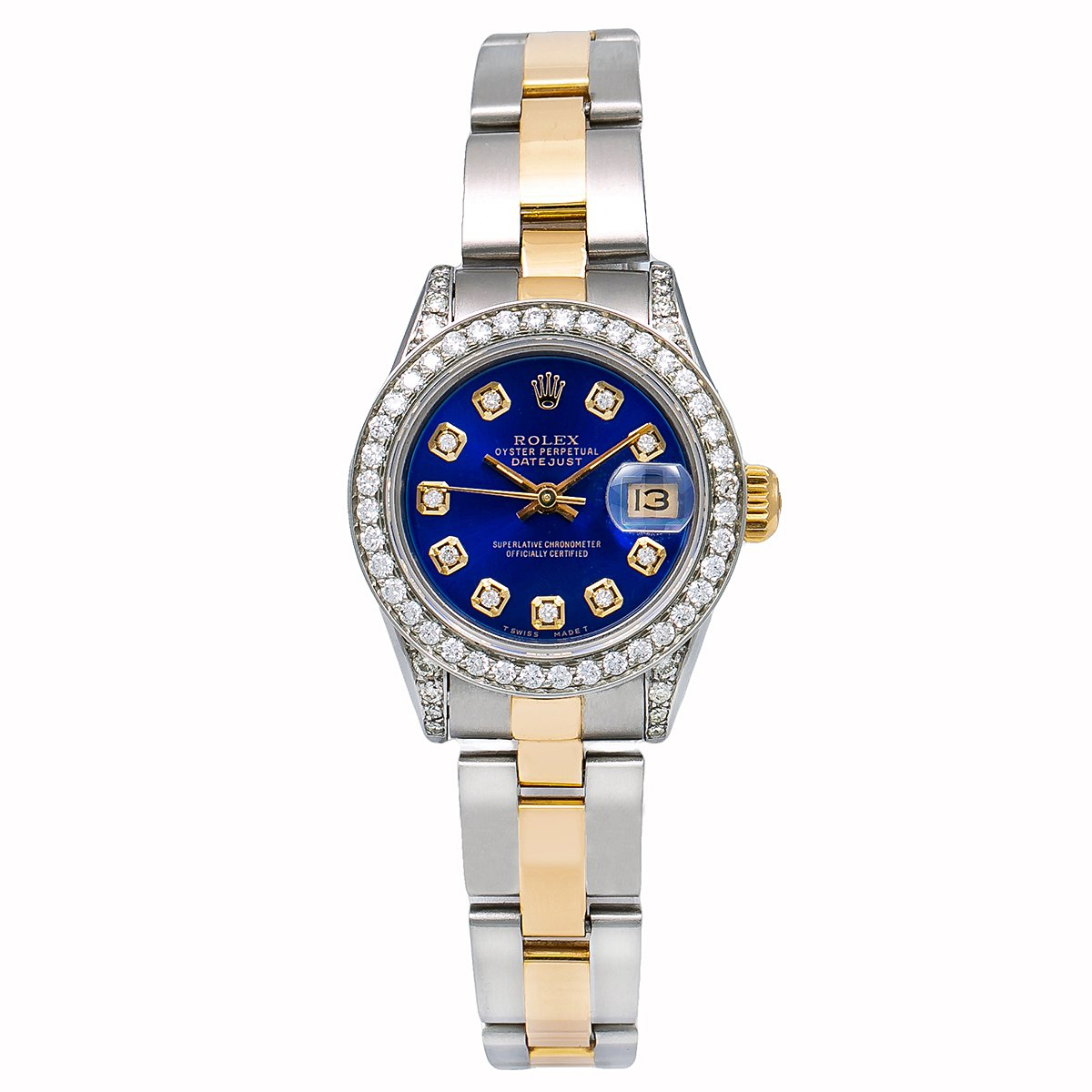 18k Gold Diamond Bezel Rolex Watch Lady-datejust 69173 26mm Blue Dial 0.9Ct Main Image