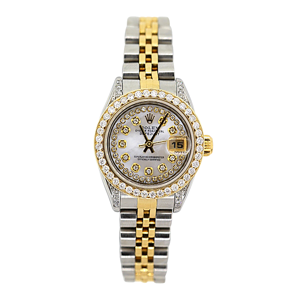 Rolex Oyster Perpetual Datejust Ladies Diamond Watch 2.2ct 18k Gold & Steel Main Image