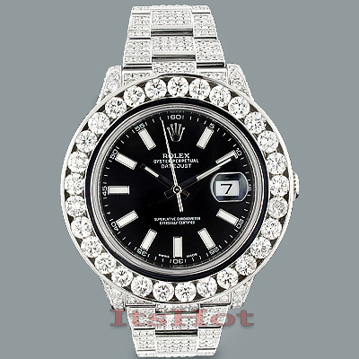 Rolex Oyster Perpetual Datejust Mens Diamond Watch 25.40ct Custom
