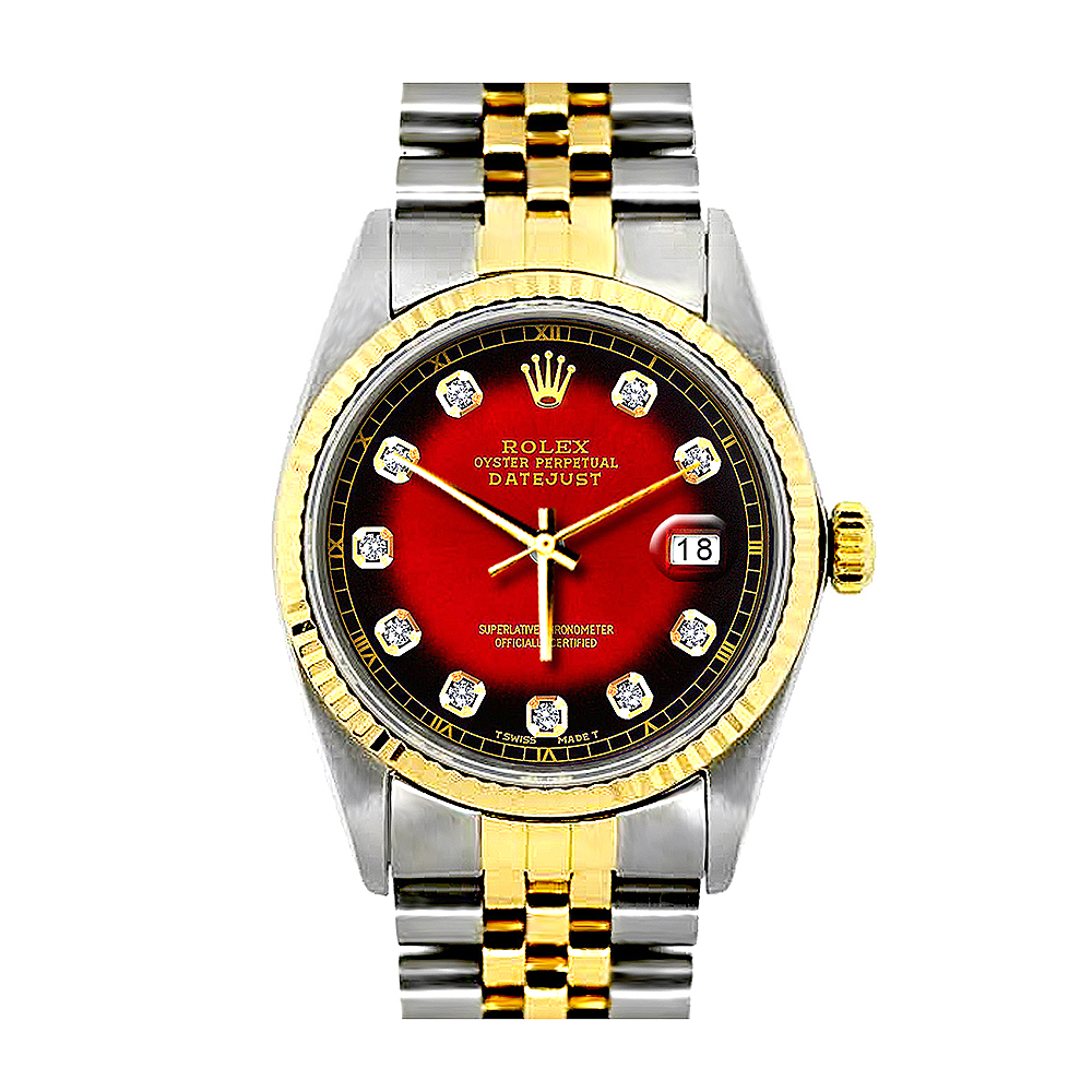 Rolex Oyster Perpetual Datejust Mens Diamond Watch Red Dial 18K Gold Main Image