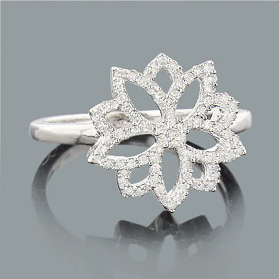 Romantic Flower Ring with Diamonds 0.24ct 14K Gold