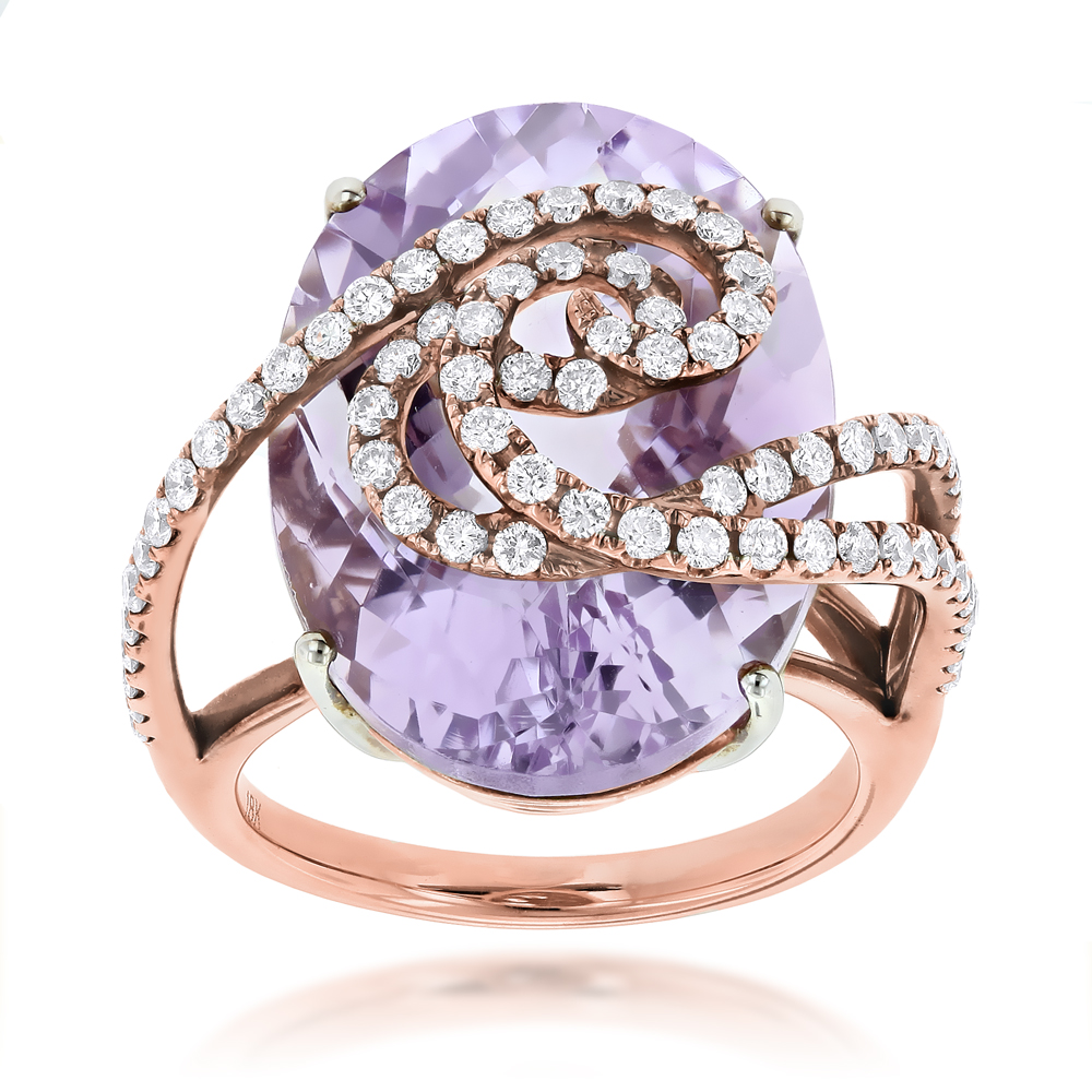 Rose Gold Amethyst Diamond Ring for Women 14K Gold 1.1ct Rose Image
