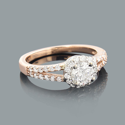 Rose Gold Engagement Ring with Round Diamonds 0.88ct 14K Main Image