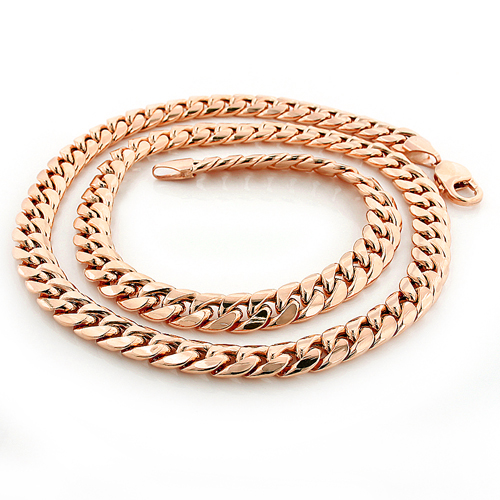 Rose Gold Miami Cuban Link Curb Chain 10K 22-40in 9mm Main Image