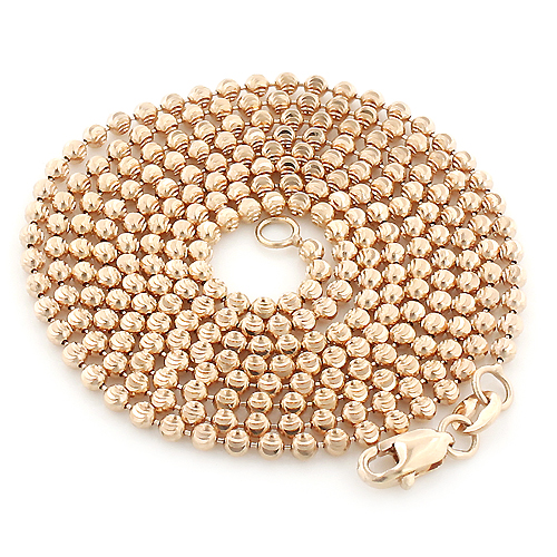 Rose Gold Moon Cut Bead Chain 10K 2mm 22-40in Main Image