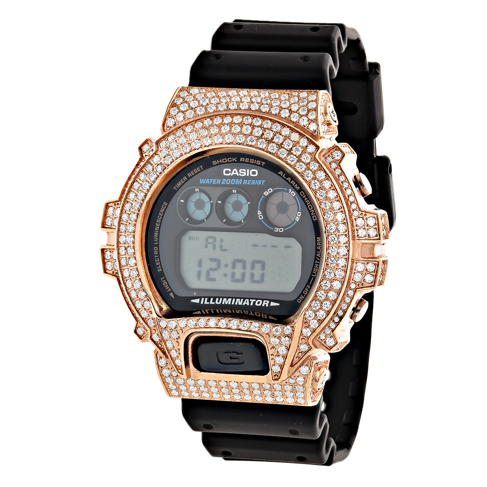 be392475d13 Rose Gold Plated Casio Watches  G-Shock White CZ Crystal Watch DW6900 rose-