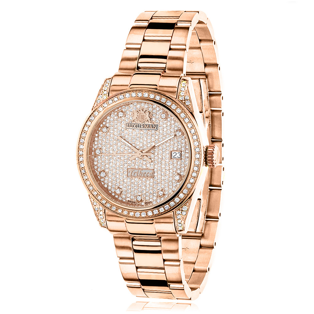 Rose Gold Plated Real Diamond Watch for Women 1.5ct Luxurman Tribeca Main Image