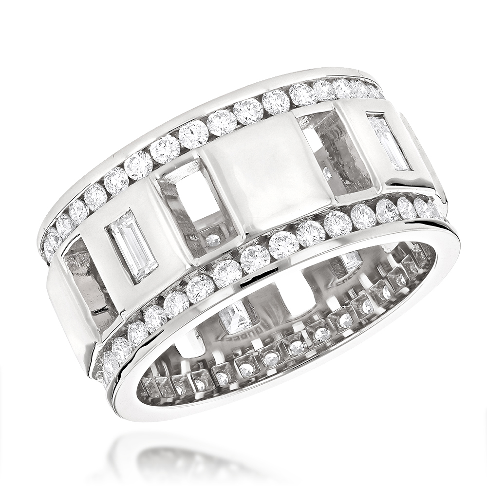 Round and Baguette Diamond Eternity Ring By Luxurman New York 2.65ct White Image