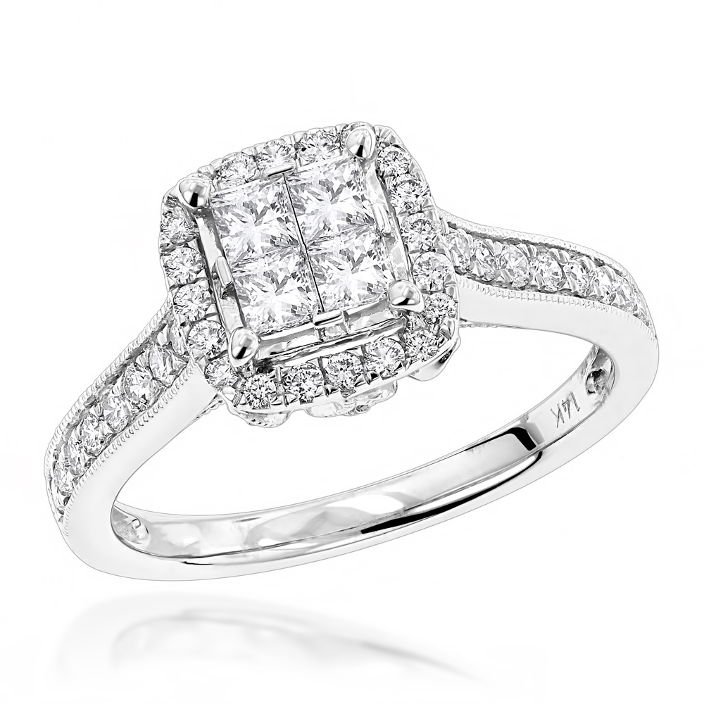 Round and Princess Cut Diamond Engagement Ring with Leaf Design 14k Gold White Image