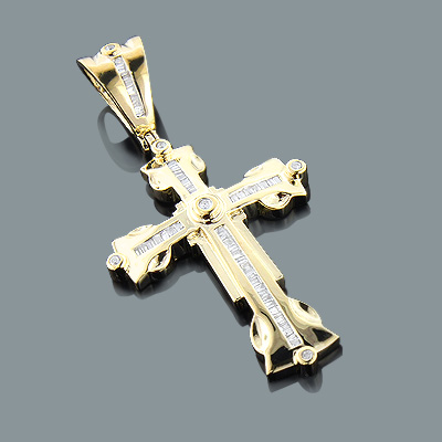 Round baguette diamond cross pendant 062ct 10k gold mozeypictures Image collections