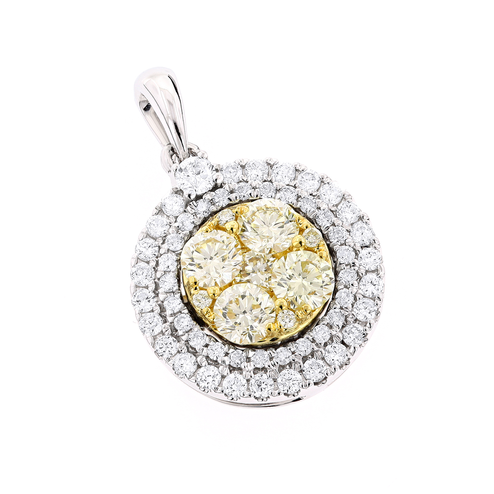 Round Diamond Circle Pendant for Women White Yellow Diamonds 14k Gold 1.3ct White Image