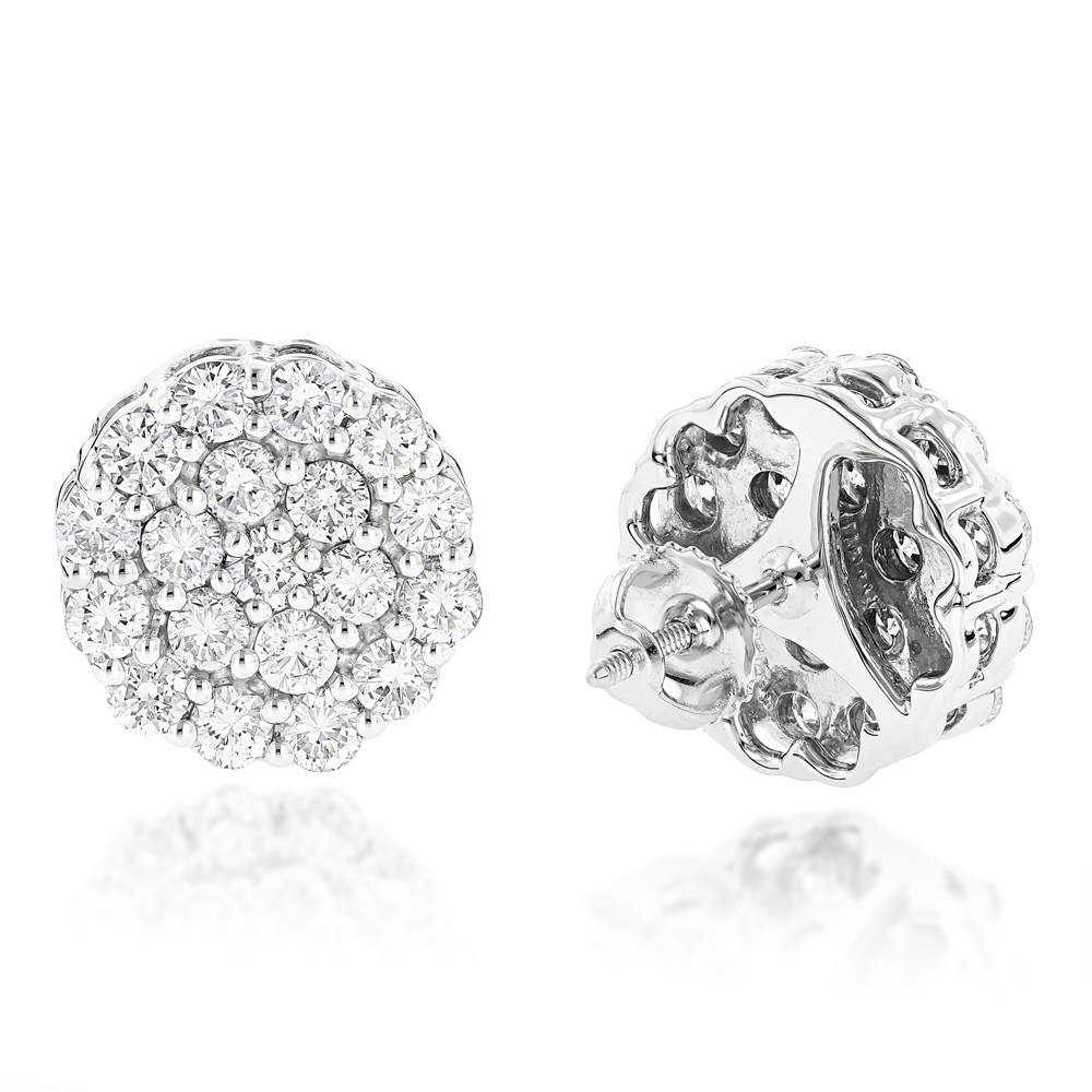 Round Diamond Cluster Earrings in 14K Gold 4.02ct White Image