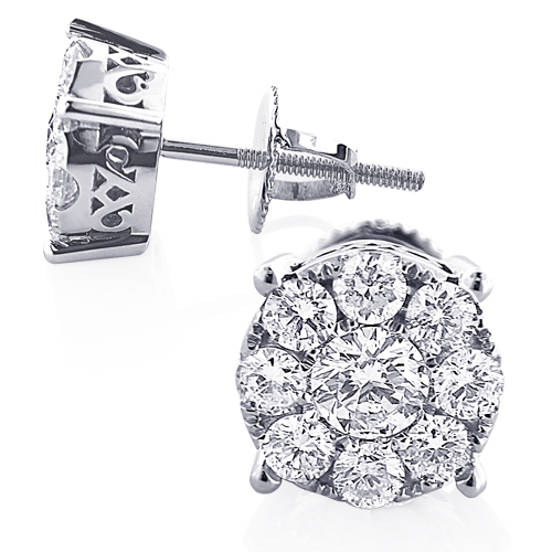 Round Diamond Cluster Stud Earrings 1.61ct 14K Gold