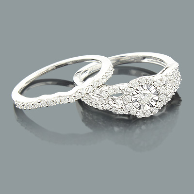 Round Diamond Engagement Ring Set 10K 0.87ct Main Image