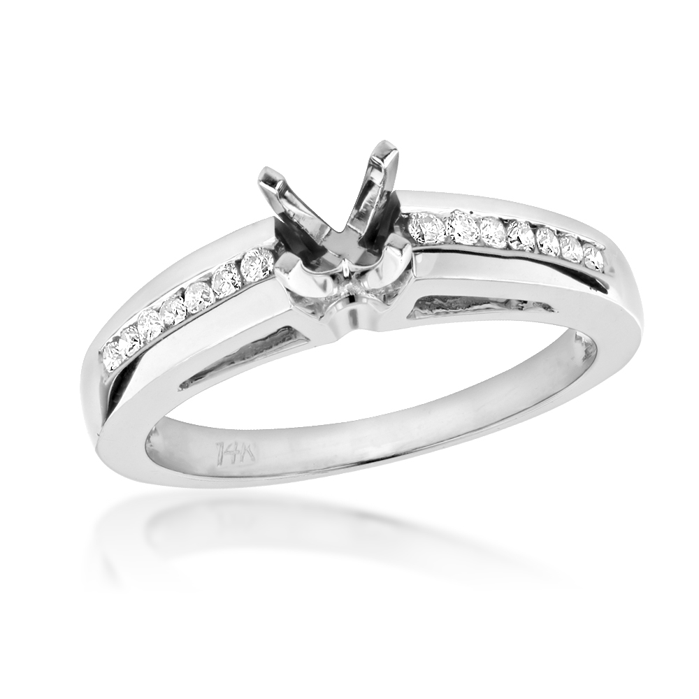 Round Diamond Engagement Ring Setting 0.25ct 14k Gold Mounting White Image
