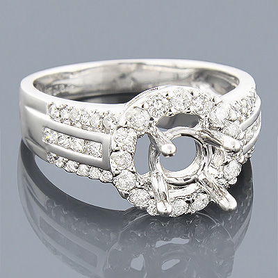 Halo Round Diamond Engagement Ring Setting 0.81ct 14K Main Image