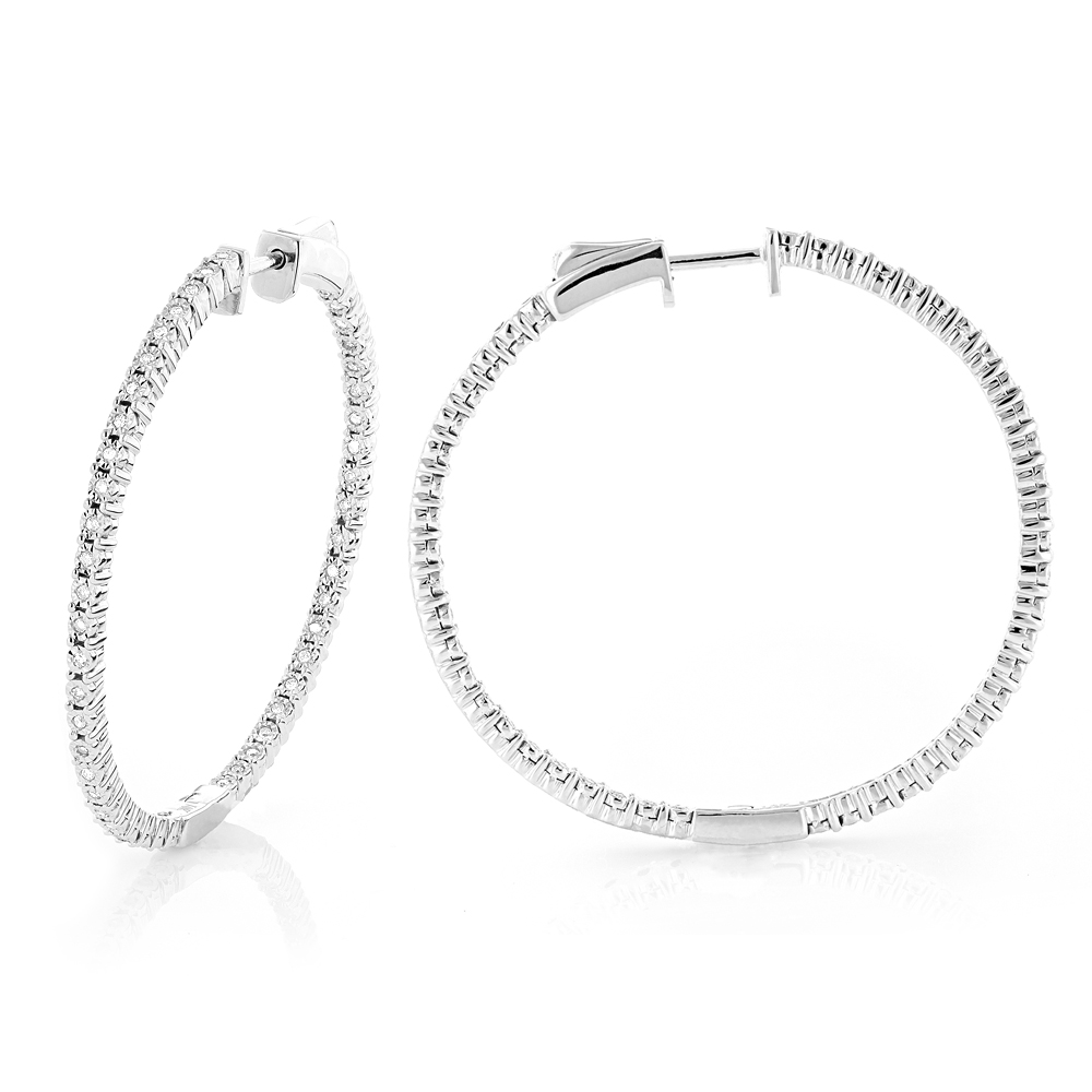Round Diamond Hoop Earrings 0.6ct Inside Out 14K Gold 1 3/4 inches