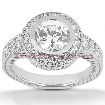 Round Diamond Platinum Engagement Ring 1.33ct Main Image
