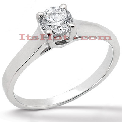 Round Diamond Platinum Engagement Ring 1ct 3.8mm Main Image