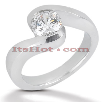 Round Diamond Platinum Engagement Ring 1ct Main Image