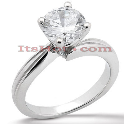 Round Diamond Platinum Engagement Ring 1ct