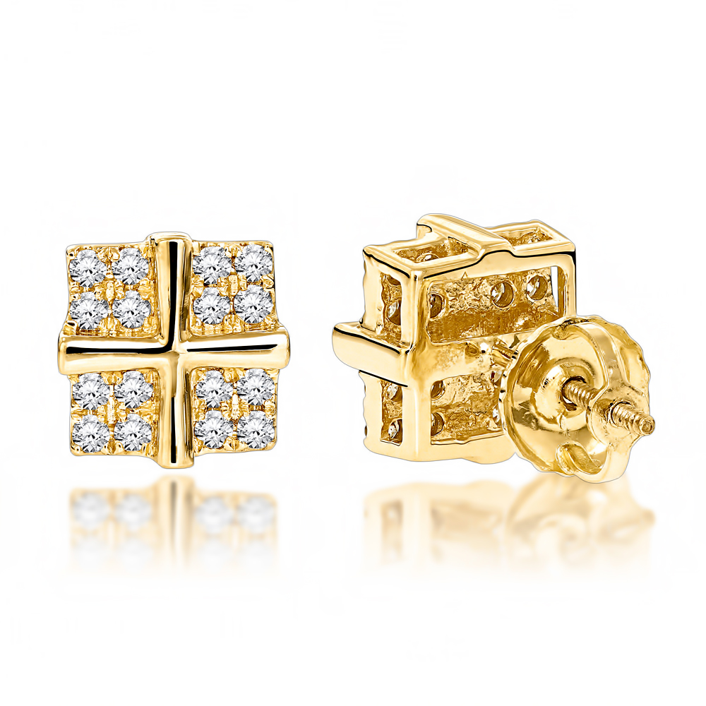 Round Diamond Stud Earrings 0.35ct 14K Gold Yellow Image