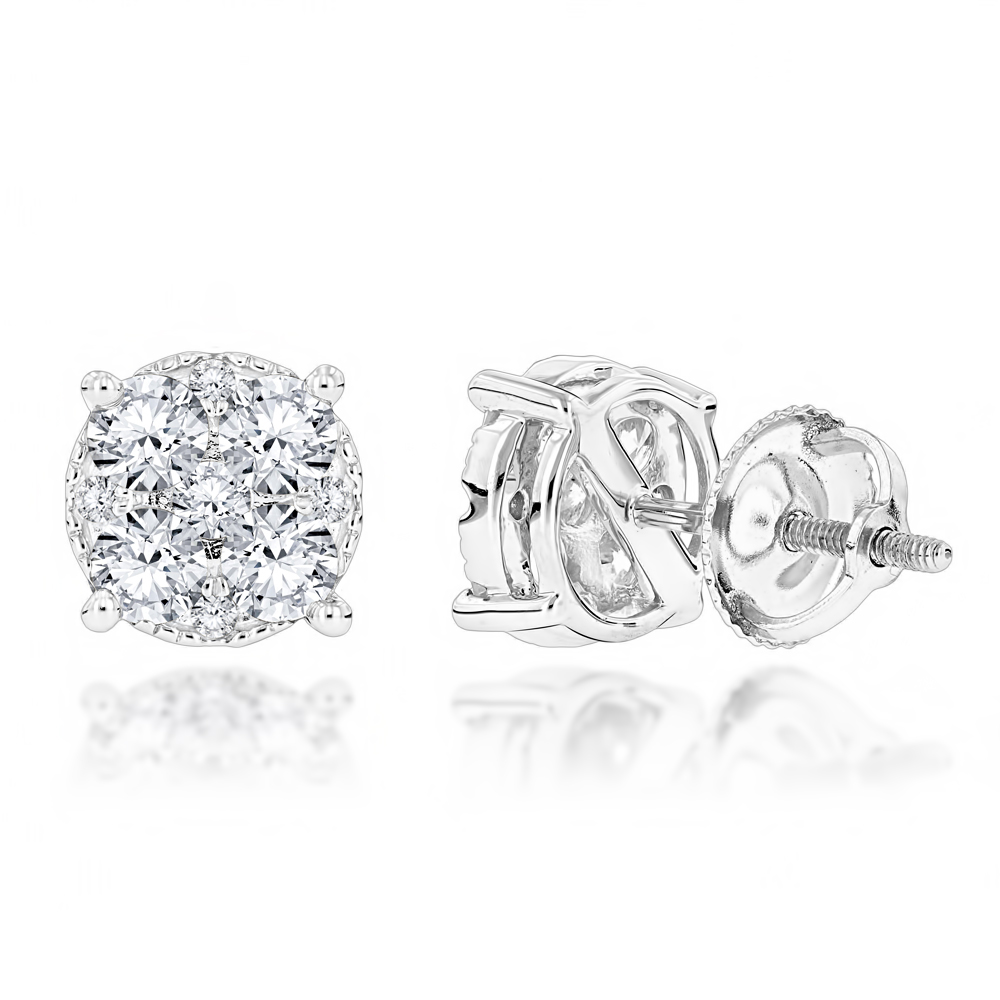 Round Diamond Stud Earrings 1.20ct 14K Gold White Image