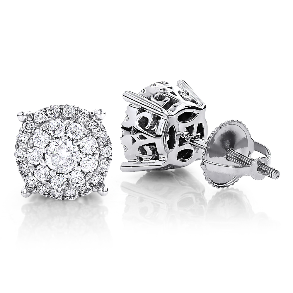 Round Diamond Stud Earrings 14K Gold 0.76ct Pave Cluster Design