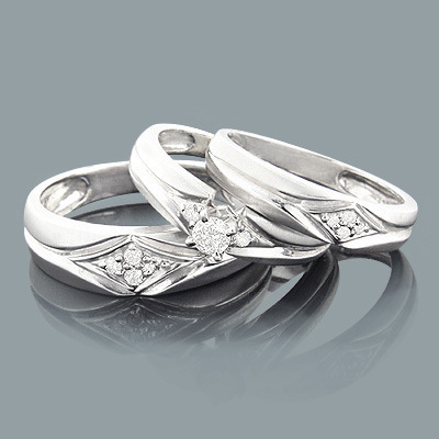 Round Diamond Trio Ring Set 0.37ct 14K Gold Main Image