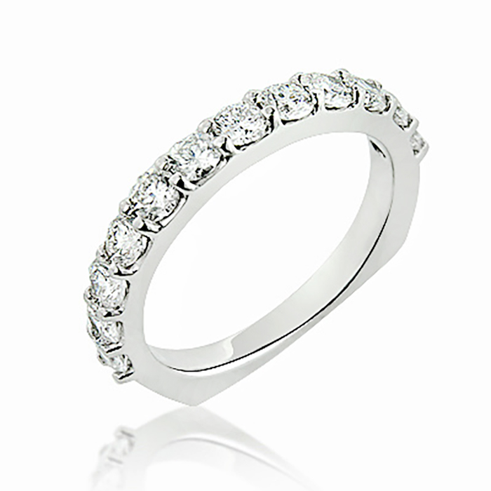bands wedding milgrain stacked gold ring set white rings round full eternity band diamond bezel