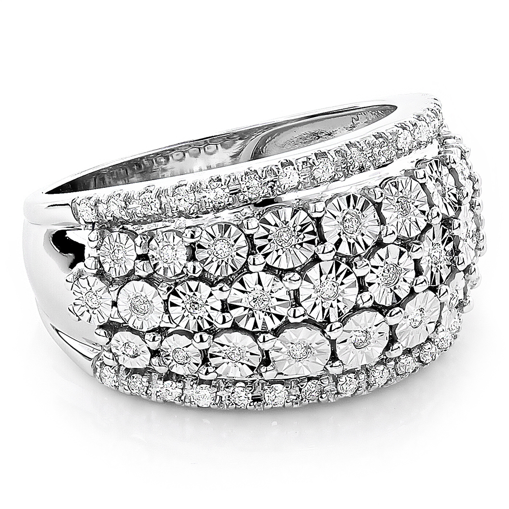 Round Diamond Women's Right Hand Ring 14k White Gold .35ct White Image