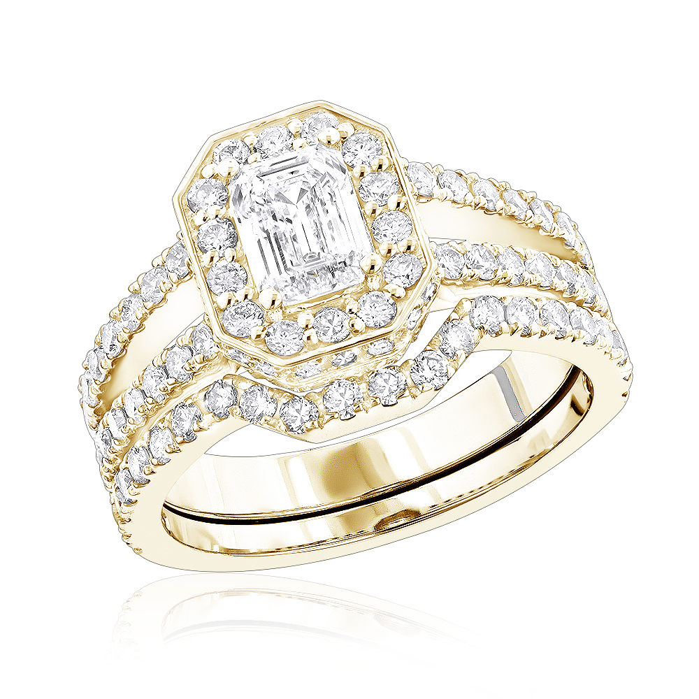 Round & Emerald Diamond Engagement Ring Set for Women by Luxurman 18K Gold Yellow Image