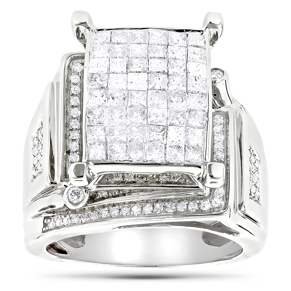 Round Princess Cut Diamond Engagement Ring 1.81ct 14K White Image