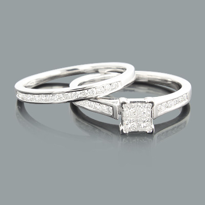 Round Princess Cut Diamond Engagement Ring Set 0.55ct 14K Gold