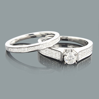 Round Princess Cut Diamond Engagement Ring Set 1.06ct 14K Main Image