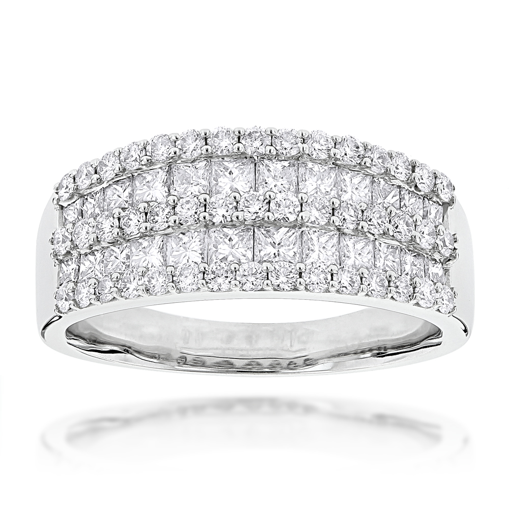 Round Princess Cut Diamond Ring 1.87ct 14K White Image