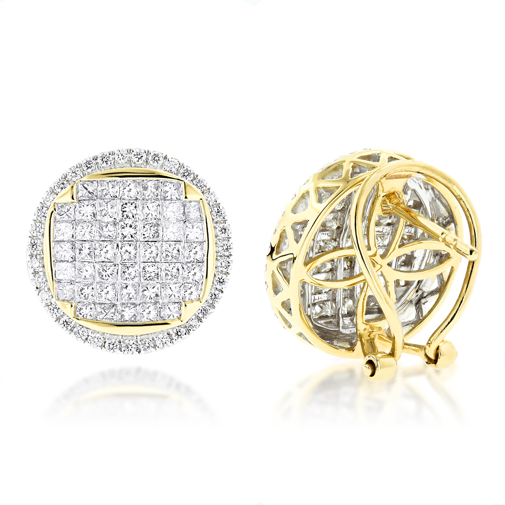 Round Princess Cut Diamond Stud Earrings 2.5ct 14K Gold Yellow Image