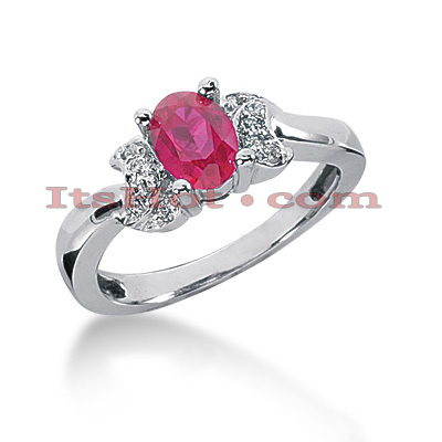 Ruby Engagement Ring with Diamonds 14K 0.10ctd 0.75ctr Main Image